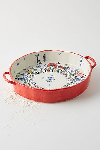 Anthropologie Pie Plate Dish REMI Stoneware Floral Multicolor Flower Vibrant NWT