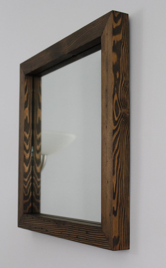 Rustic Reclaimed Wood Mirror Square 20x20 Distressed Wood