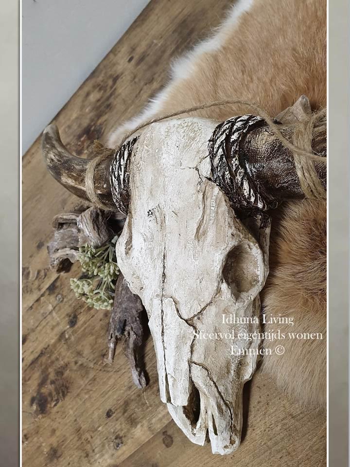 Woonaccessoires schedel buffel Polyresin in natuurtinten 38 x 21 cm #woonaccessoires