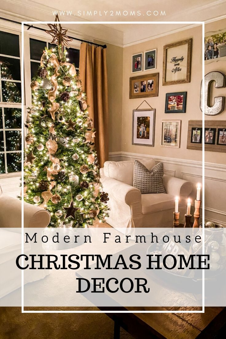 Twinkling Christmas lights and beautiful candlelight lead you through this cozy nighttime holiday home tour. Come on in and take a look around. #christmas #hometour #housetour #twinklelights #christmaslights #candlelight #nighttime #farmhousechristmas