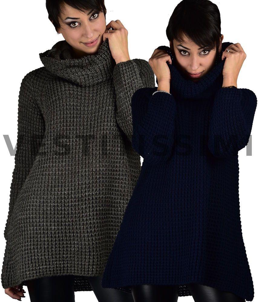 timeless design c0684 c9103 Pin su Pullover maglione donna lungo lana maxi maglia collo ...