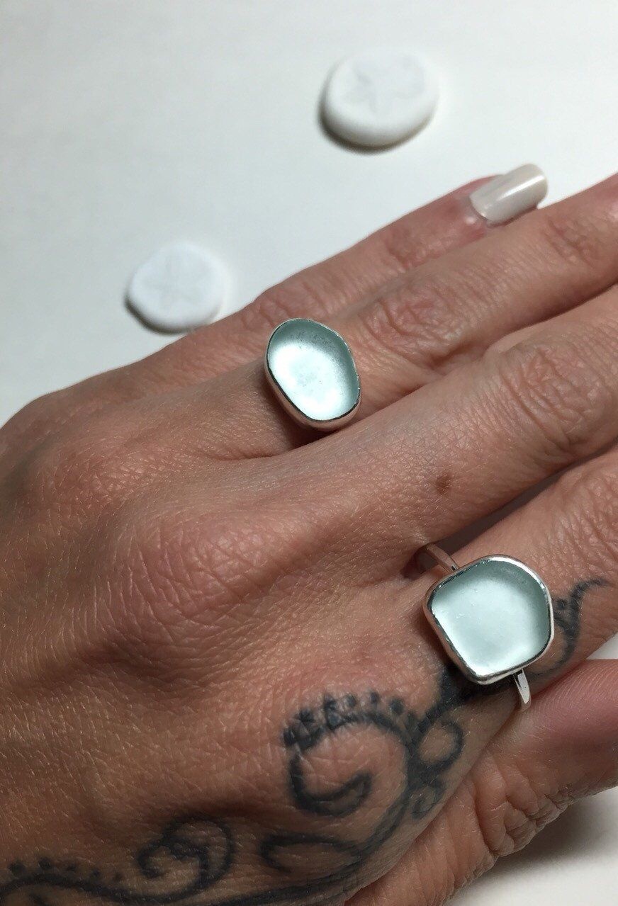 Sea Glass Rings Aqua Shades Mermaid Jewelry Hammered Sterling Silver by CapeCodGypsea on Etsy https://www.etsy.com/listing/232416114/sea-glass-rings-aqua-shades-mermaid