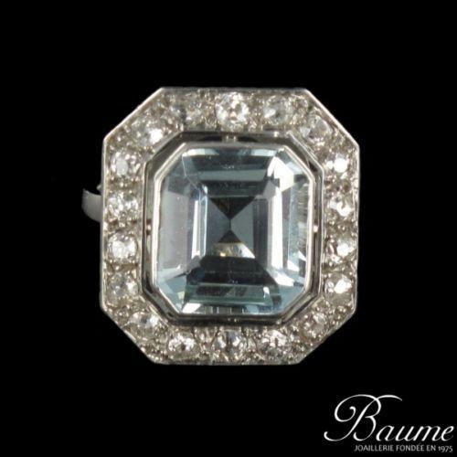nouveau style dernière conception 100% qualité garantie Rare Bague Ancienne Aigue Marine Diamants ART Deco Certifie ...