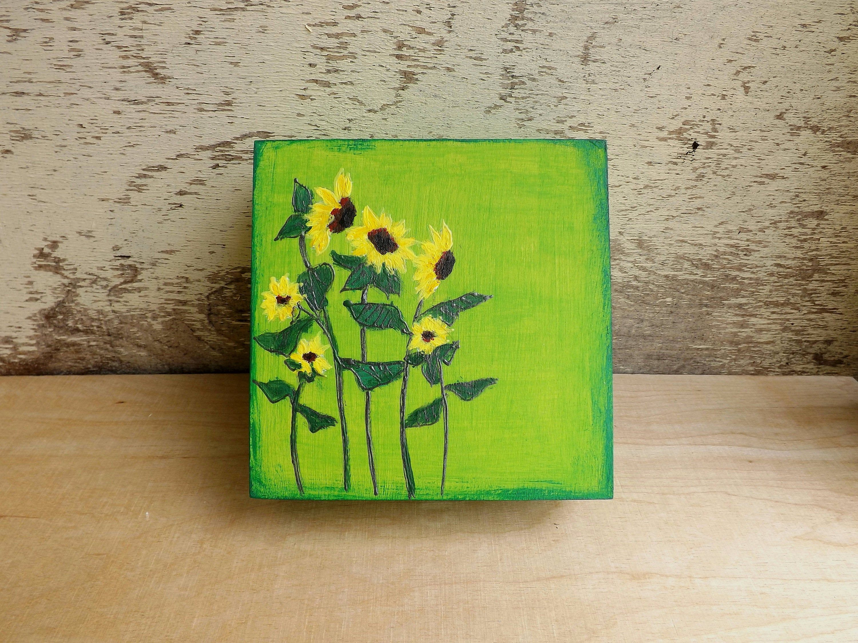 Wood small box with Sunflowers, hand-painted custom floral box, wooden keepsake jewelry treasure box Sunflower, wood trinket flowers box #woodenflowerboxes