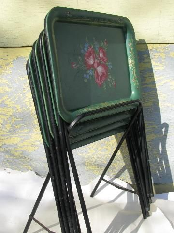 Vintage Roses On Green Tole Litho Print Metal Folding TV Tray Tables