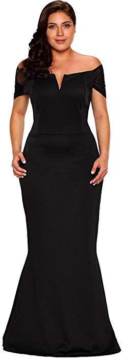 54de680092d Amazon.com  Lalagen Women s Plus Size Off Shoulder Long Formal Party Dress  Evening Gown Size XXL (Black)  Clothing