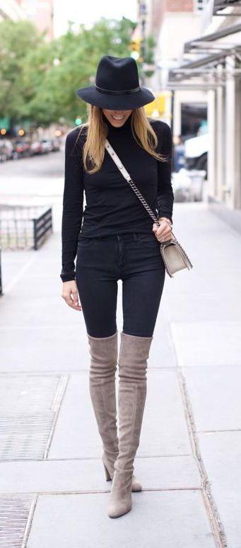 #fall #fashion / all black + knee length boots
