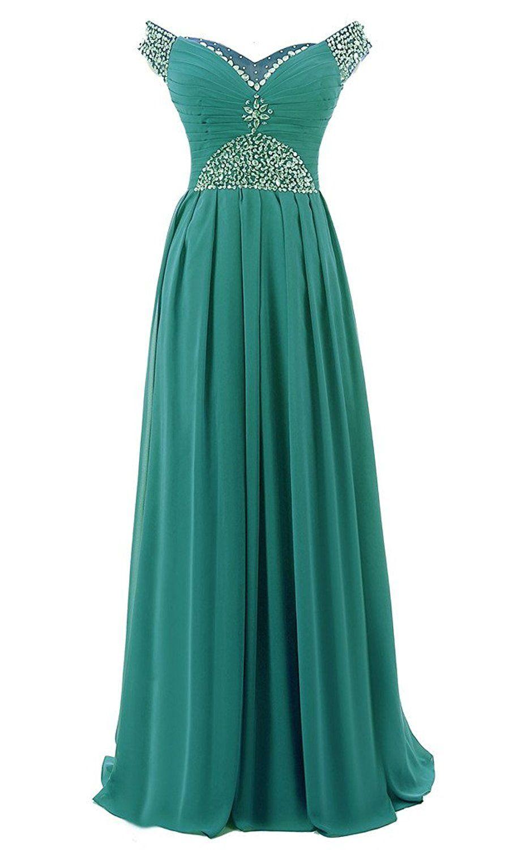 RohmBridal Cap Sleeve Chiffon Long Formal Prom Dress Evening Gown ...