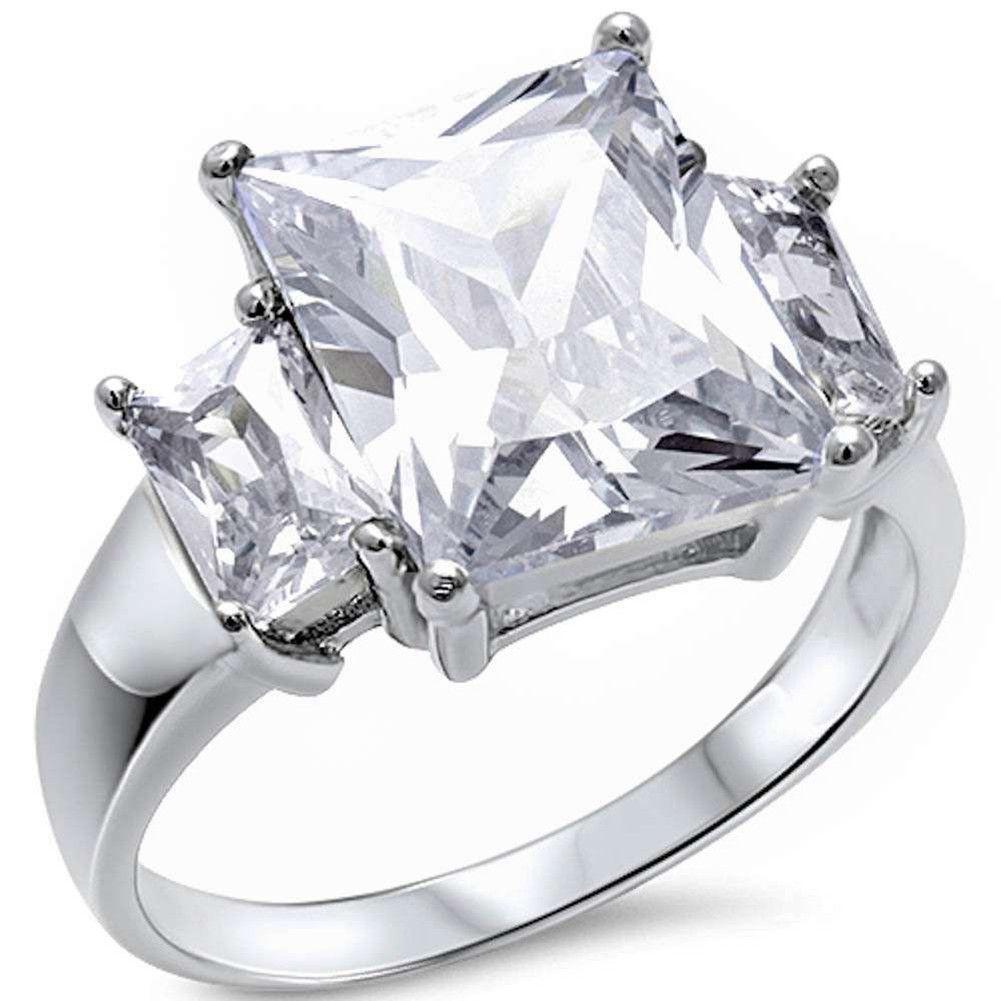 Stone wedding engagement ring radiant cut baguette cubic zirconia