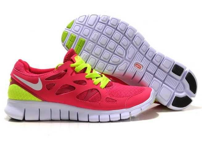 Sexy Sport Nike Free Run 2 Femme Rose Fluorescent Vert