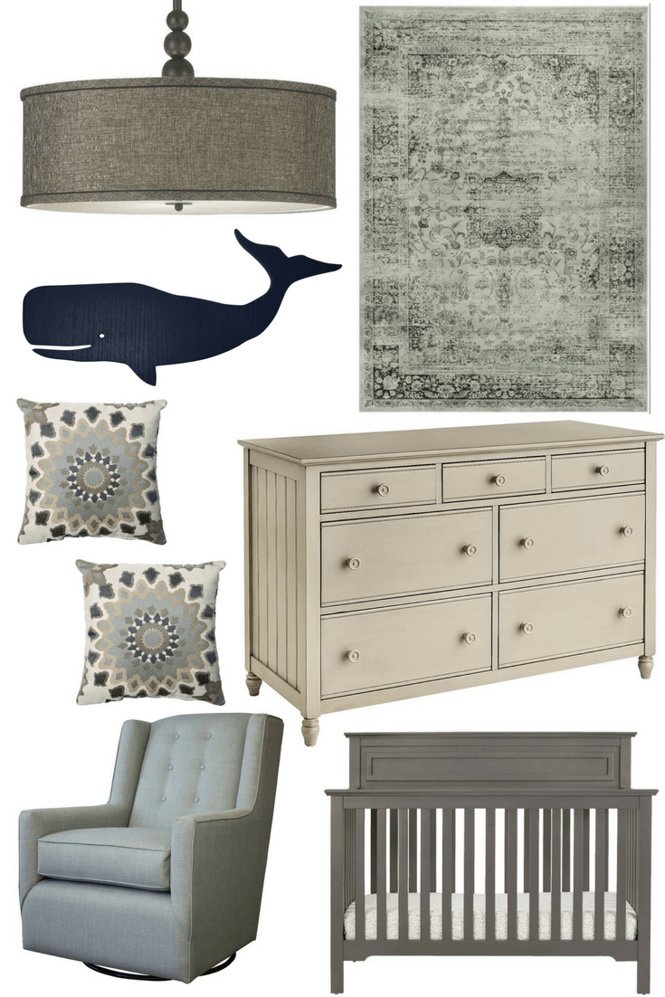 Nursery Inspiration Mix Of Blues Boy Grey Whale Blue And