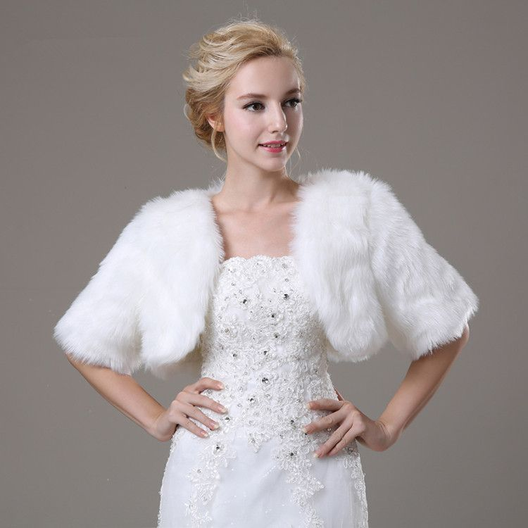 White Artificial Fur Bolero With Short Sleeves Bridal Faux