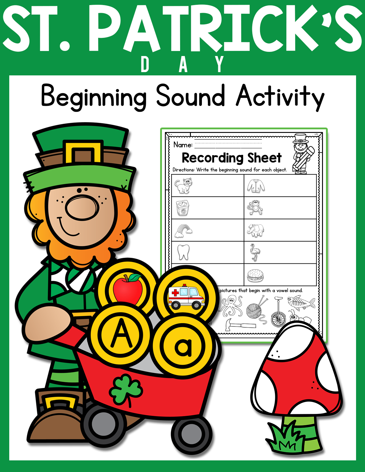St Patrick S Day Alphabet And Beginning Sound Activity In