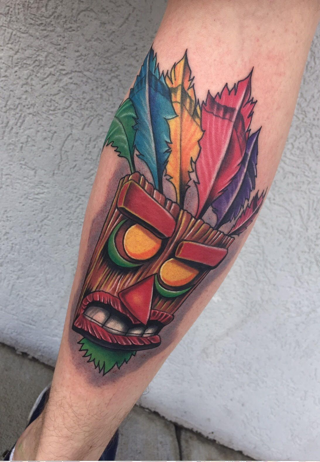e0940eb83 Crash Bandicoot Aku Aku Tattoo || Evolution Ink Studio || Fayetteville, NC  || Artist: Joan