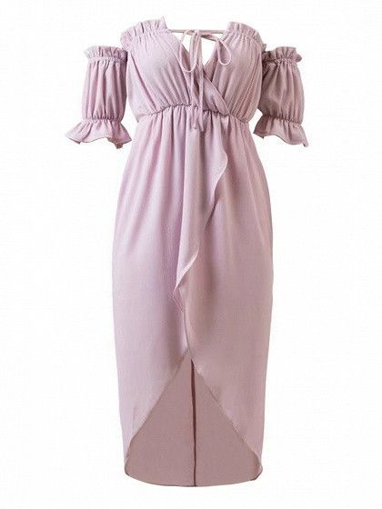 fc578ee23555 Woven fabric Off shoulder design Stretch trims Wrap design Asymmetric hem  Tie front detail Regular fit Hand wash 100%Polyester
