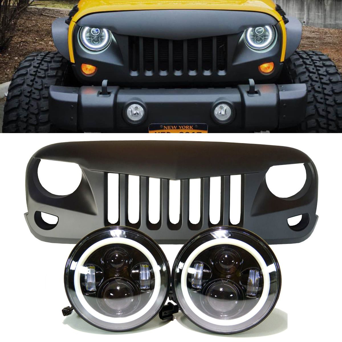 Jeep Jk Projector Headlights Halo Camioneta Jeep Jeep Carros