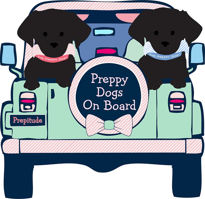 'Black Lab Preppy Dogs On Board - Mint Green Pink Jeep' Sticker by emrdesigns