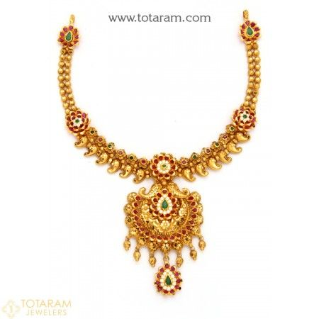 22k Gold Temple Jewellery Necklaces Online Gold Jewellery Gold Necklace Designs Temple Jewelry Necklace