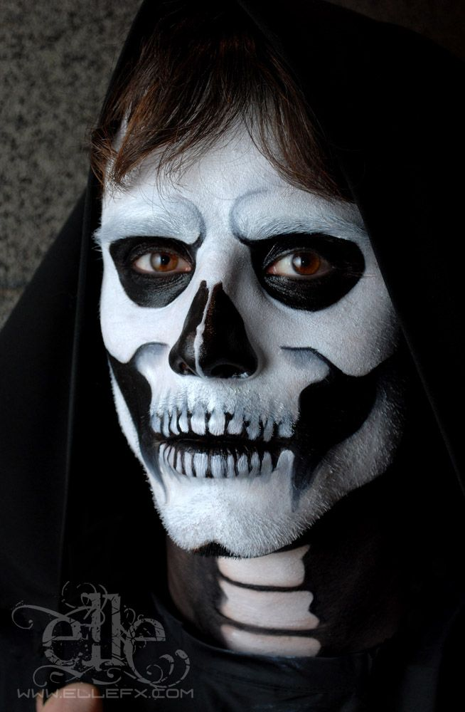 face painted skeleton face skull face paint by ellefx on deviantart - Skeleton Face Paint For Halloween