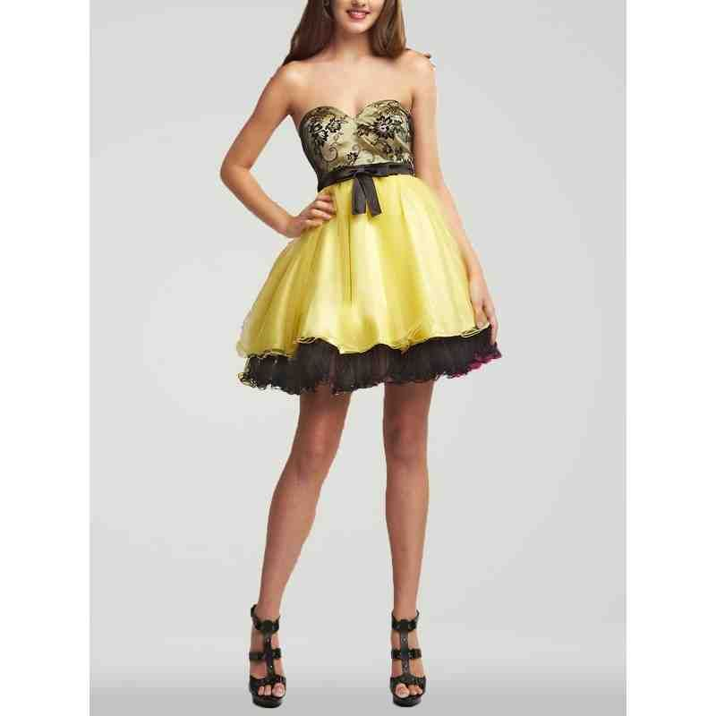 Black And Yellow Bridesmaid Dresses 1