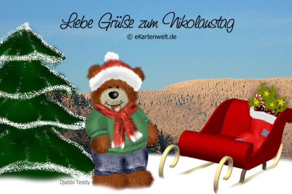 liebe gr e zum nikolaustag postkarte mit djabbi teddy. Black Bedroom Furniture Sets. Home Design Ideas