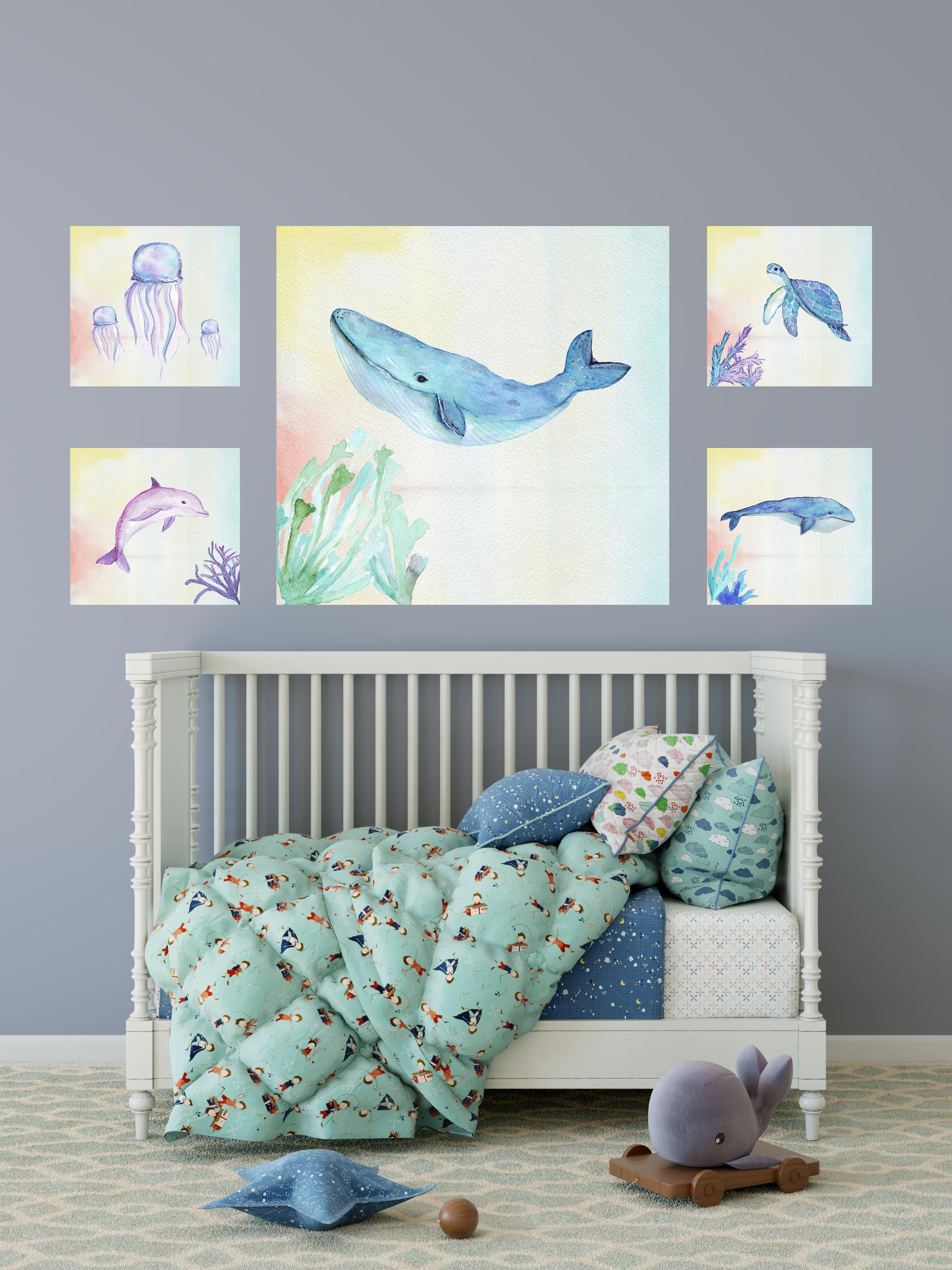 set of 5 sea creature theme nursery printable wall art print set