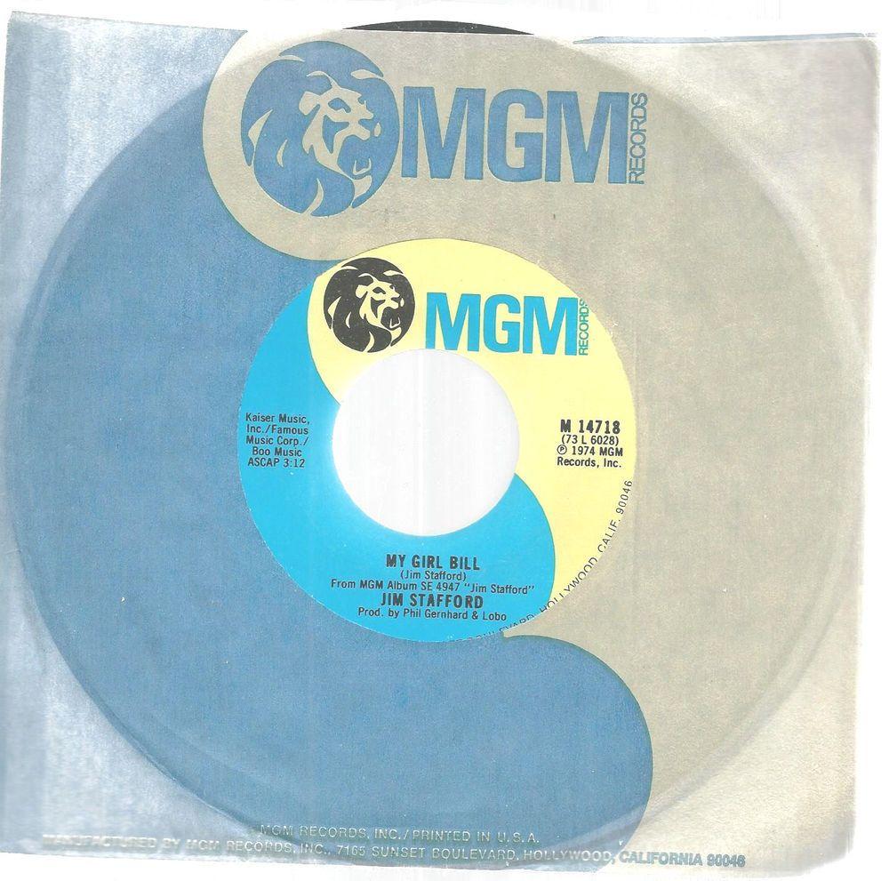 Jim Stafford My Girl Bill LA Mamma 45 RPM Record MGM Records 1974 #CountryPop