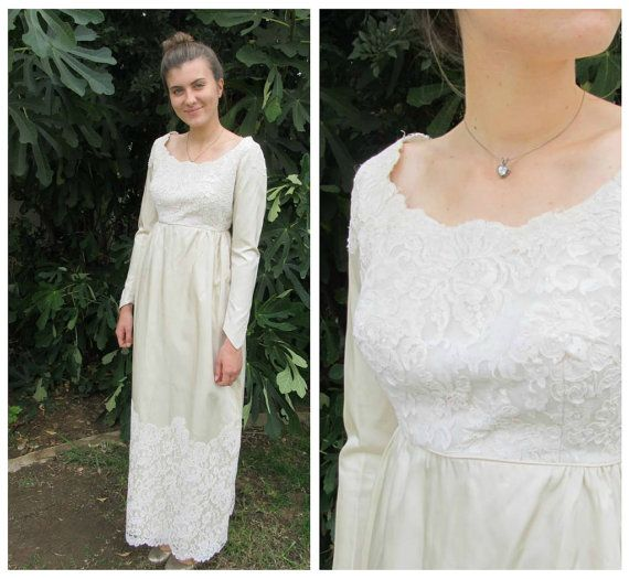 50s 60s empire waist Satin and Lace Wedding Dress ivory column ...