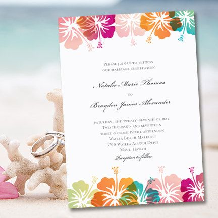 Printable Wedding Invitation Template Hibiscus Tropical Beach