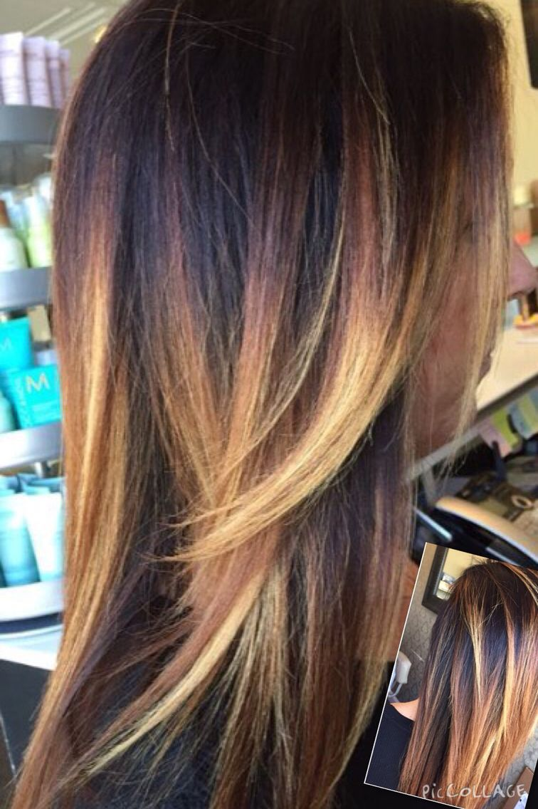 Dark and light blonde balayage highlights with dark root, tiger ...