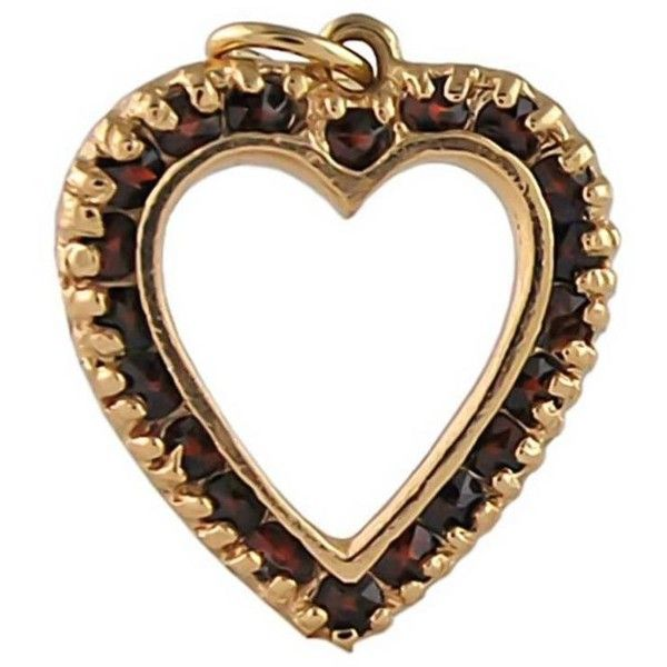 Preowned Garnet Gold Heart Charm (€590) ❤ liked on Polyvore featuring jewelry, pendants, multiple, open heart pendant, yellow gold heart pendant, garnet pendant, 14 karat gold charms and 14k gold charms