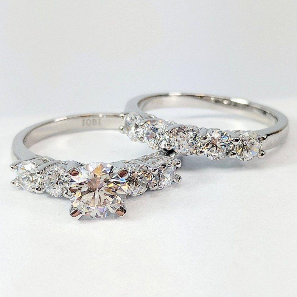 Gloria 2 03ctw Five Stone Iobi Simulated Diamond Wedding Band Ring Set Diamond Wedding Bands Wedding Ring Bands Stone Engagement Rings