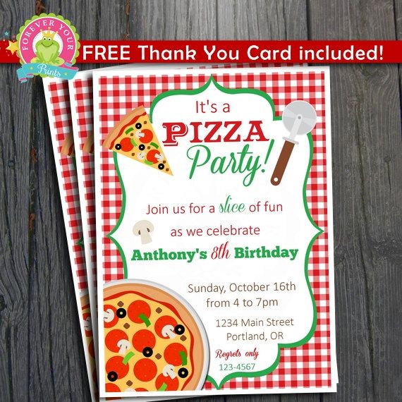 Pizza Party Invitation Free Thank You Card Included Pizza Party Invitations