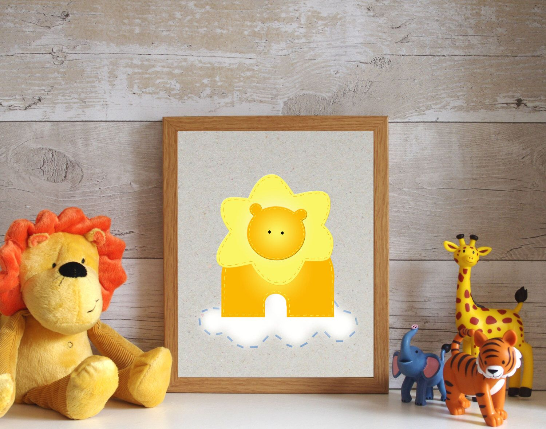 Lion Art Print, Playroom Decor, Nursery Artwork, Kids Wall Decor ...