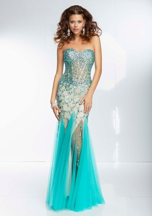 c2e084980 95092 Beaded Sheer Bodice with Godet Mesh Skirt Available at BOOM ...