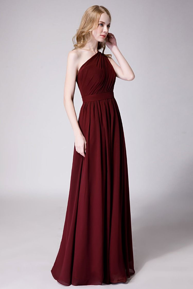 Illusion OneShoulder FloorLength Chiffon Bridesmaid Dress in