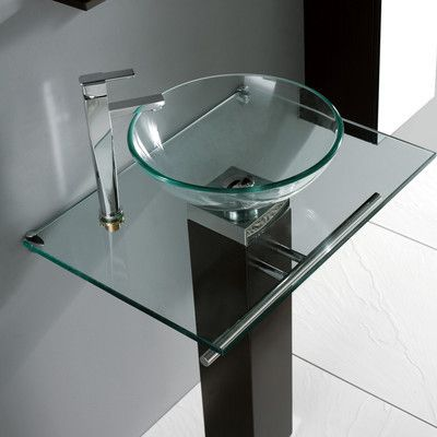 Madeli MGE050041C Rimini29 Rimini Round Tempered Glass Vessel Sink In Natural Clear MGE050041C