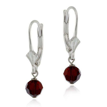 Sterling Silver Red Swarovski Elements Lever-Back Earrings