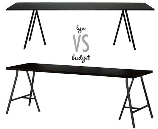 Lyx vs budget: Modernt bockbord Trendenser | Diy köksbord