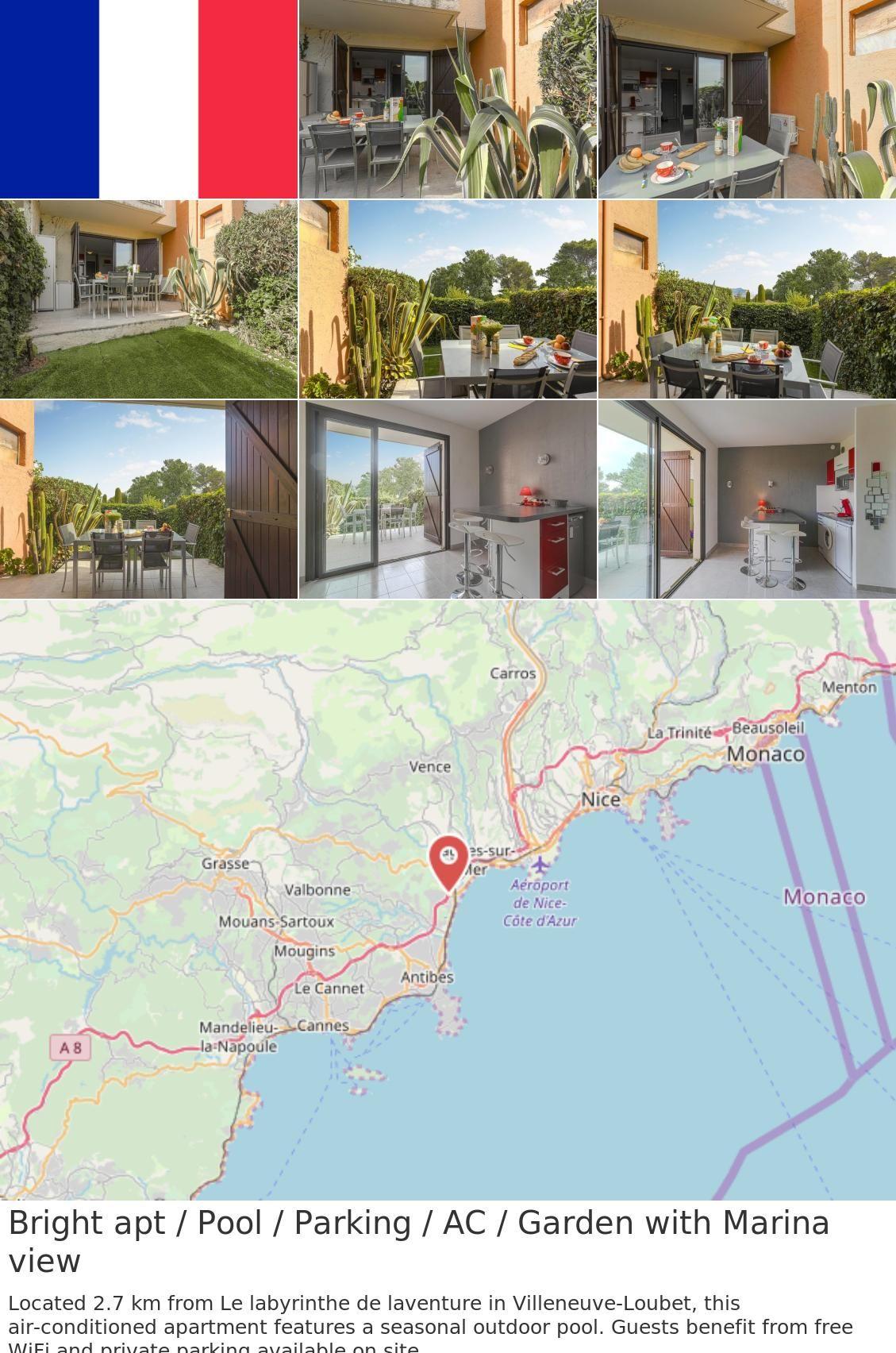 Apt France Map.Europe France Villeneuve Loubet Bright Apt Pool Parking Ac