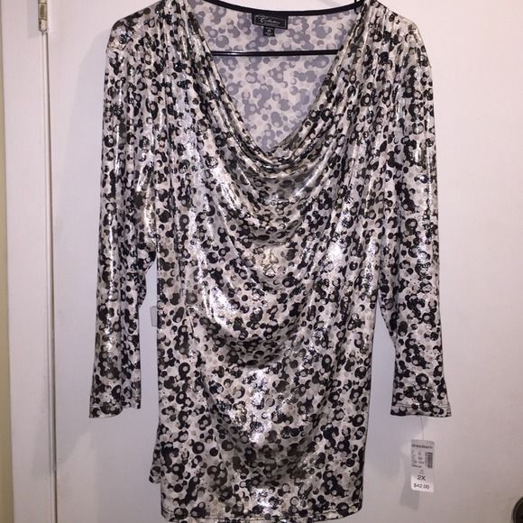 Shimmery metallic print top NWT 2X shiniest shirt ever! Polka dots in gold and silver catch your eye as it moves. Draped/Cowl neck, 3/4 sleeves. Super soft and very stretchy. NO TRADES Dress Barn Tops