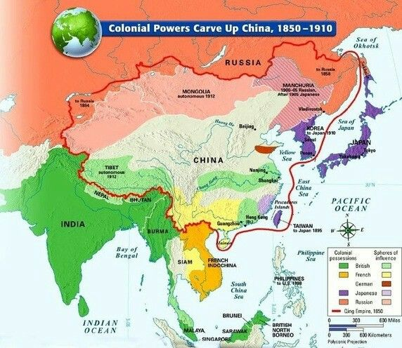 Colonial Powers Carve Up China | Politics | China, Historical maps