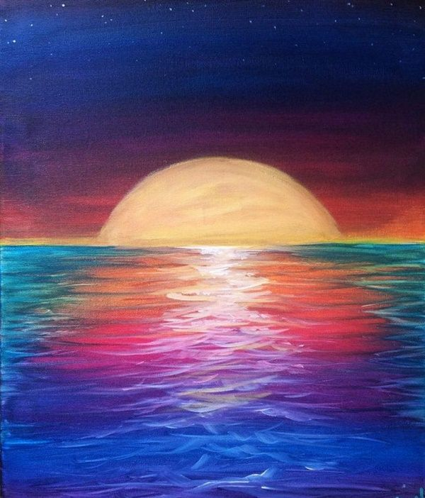 60 Easy And Simple Landscape Painting Ideas Sunset Painting Oil