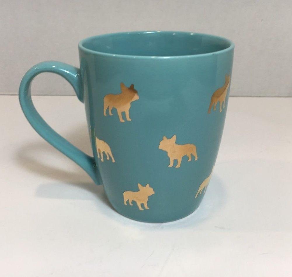 Boston terrier coffee mug blue gold dog design winifred