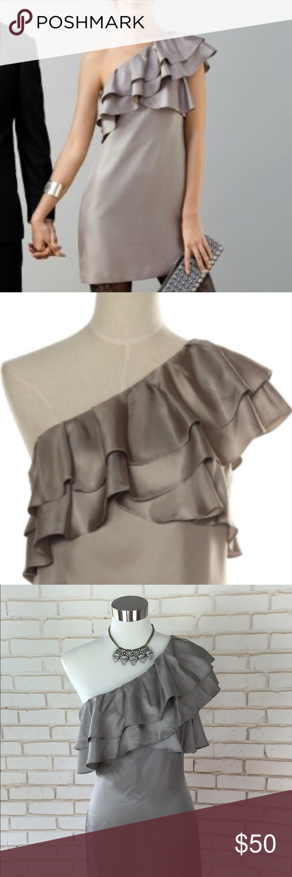 {Banana Republic} Silk Ruffle Minidress GORGEOUS NWOT 100% silk, fully lined shimmery taupe minidress with flouncy ruffed one shoulder detail. Perfect for a holiday party with tights and gorgeous heels...(see photo one for styling ideas) this has never been worn, but tags were removed. In perfect condition, retailed for $150! Banana Republic; Size 10 Banana Republic Dresses Mini