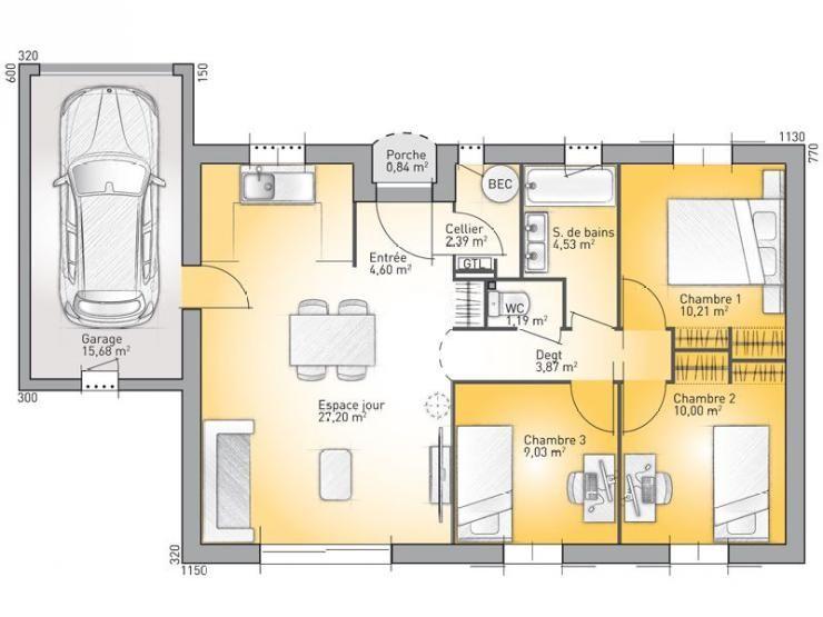 Plans de maison mod le provence maison traditionnelle de plain pied de 73m2 id es maison - Plan de maison provencale ...