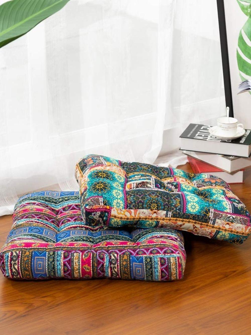 Boho Cushion Boho Cushion Large Pouf Cushion Mandala Floor Pillow Square Meditation Yoga Seating Cushion Boho Cushions Indian Cushions Floor Pillows