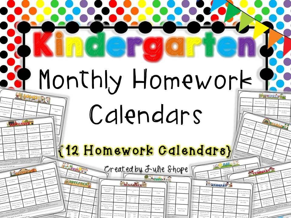 Kindergarten Homework Fun Learning Activities For Each Month
