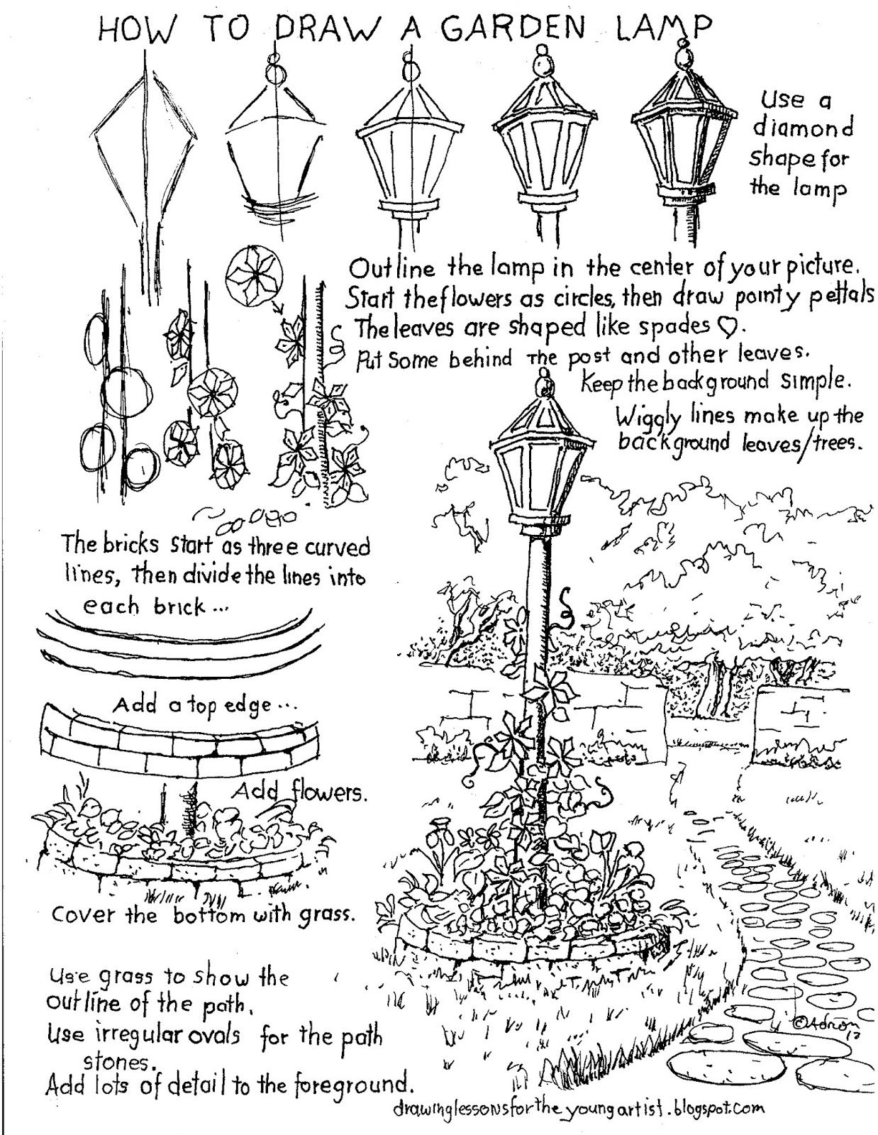 How To Draw Worksheets For The Young Artist How To Draw A Garden Lamp Post