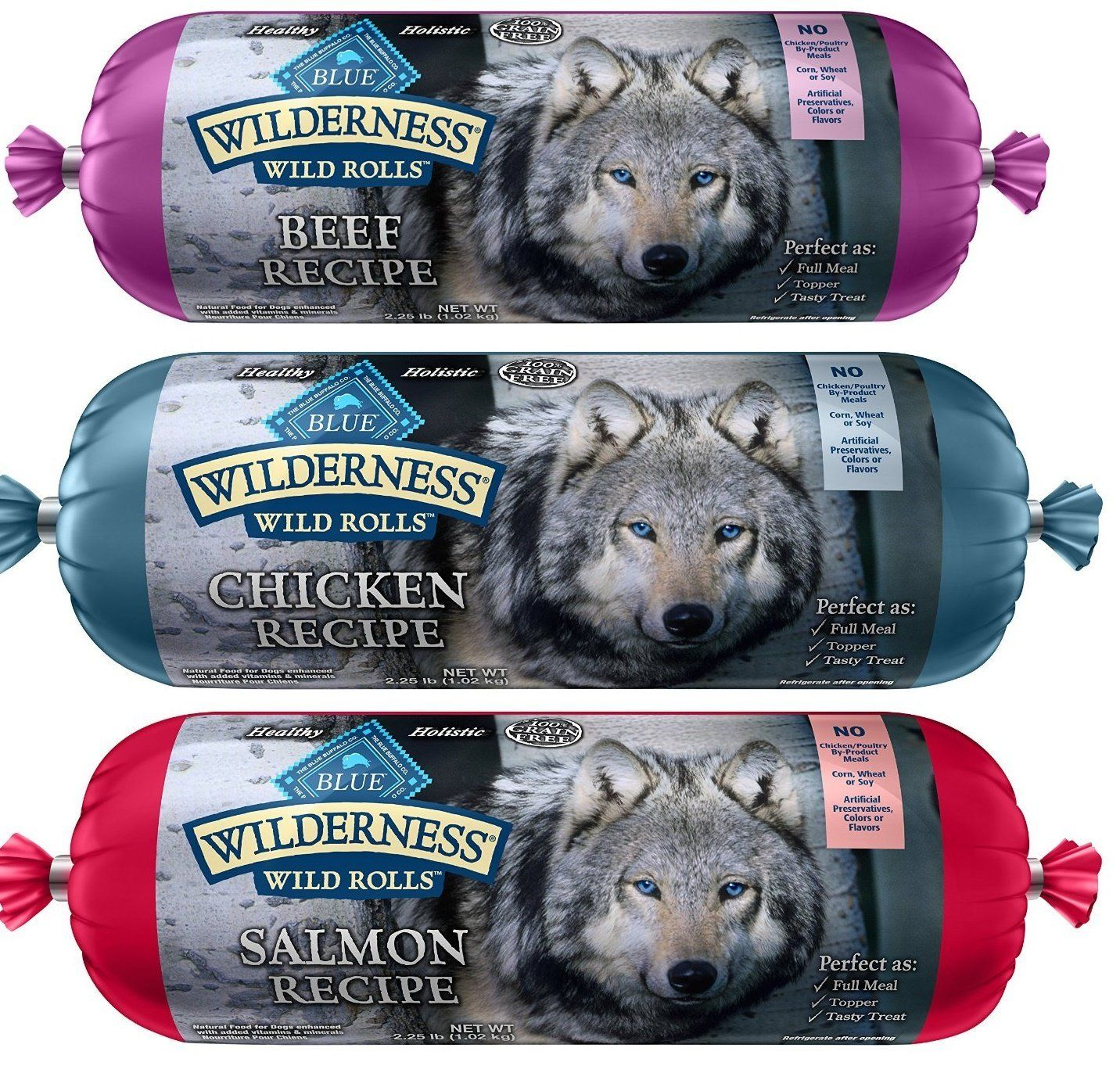 Blue Wilderness Wet Dog Food Rolls Natural Healthy Holisitc Grain